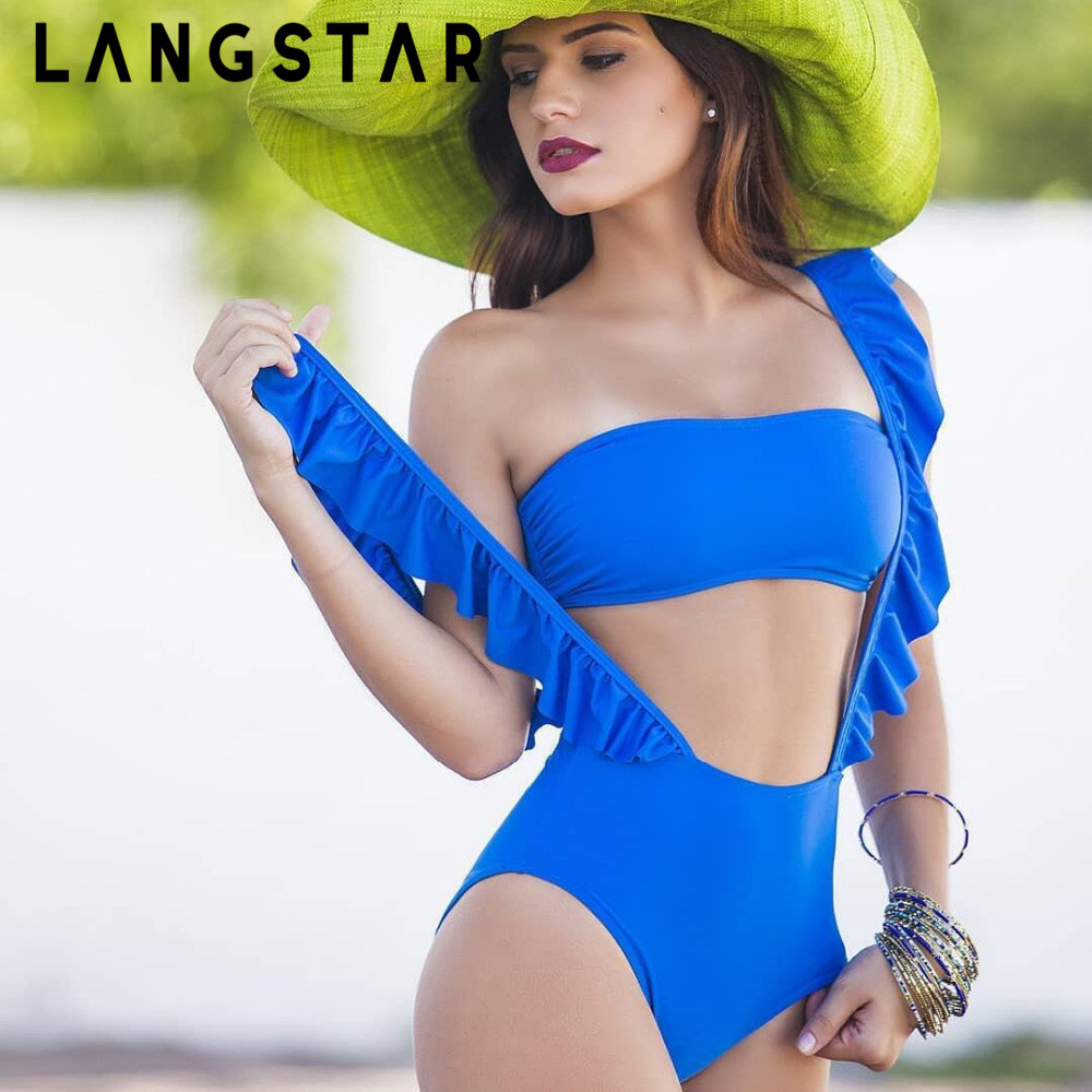 LANGSTAR Bikini Set Sexy Strapless Padded Ruffle Swimwear Women Spliced Strap High Waist Swimsuit Solid Earth Blue Swimming Suit