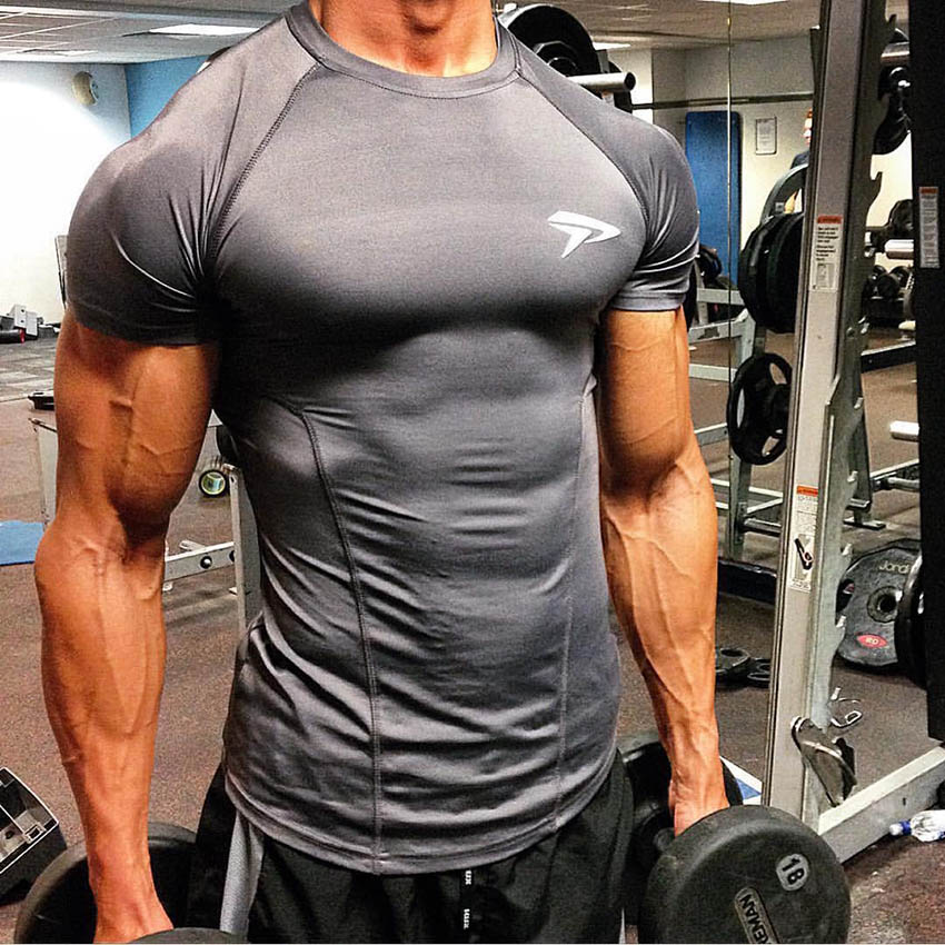 Fitness Sport T Shirt Men Quick Dry Fit Gym Shirt Men Short Sleeve Running Tshirt Elastic Sportswear Top Sports Gym TShirt