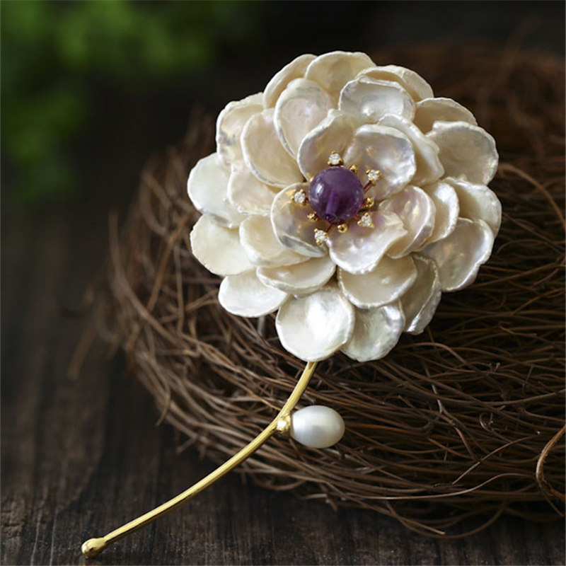 CMAJOR 925 Sterling Silver Jewelry Purple Crystal Brooch Jewelry Pendants Baroque Pearl Flower Brooches For Women