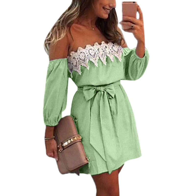 Elastic Sexy Off Shoulder Blue Striped Mini Dress Women Girl Casual Short White Party Dress With Belt Vestido