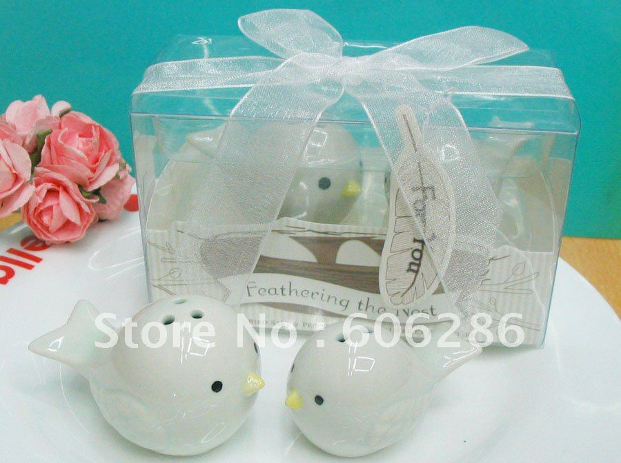20pcs(10sets)/lot Baby shower Baptism Gifts Ceramic cruet set Feathering the nest bird salt and pepper shakers