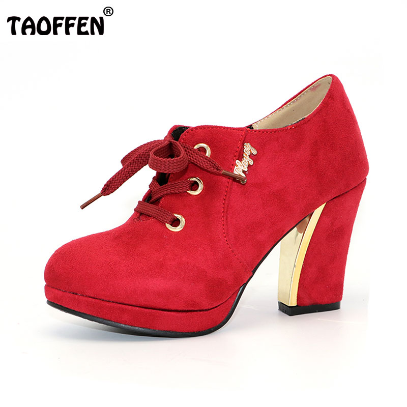 TAOFFEN Women High Heel Half Short Ankle Boots Office Snow Boot Sweet Quality Footwear Warm Botas Shoes P8934 EUR Size 32-43