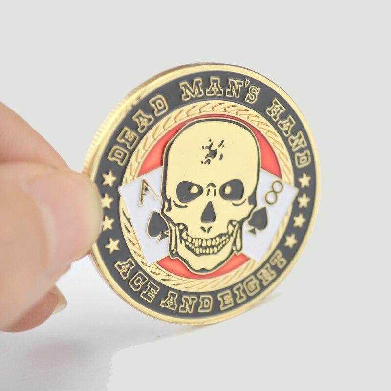Drücken Metall Poker Karten Schutzfolie Münze Pokerchips mit Kunststoffabdeckung Andenkenmünze Tote Hand