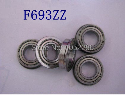 100pcs/lot  Flanged bearing  F693ZZ  miniature flange deep groove ball bearings  F693-2Z   3*8*4 mm