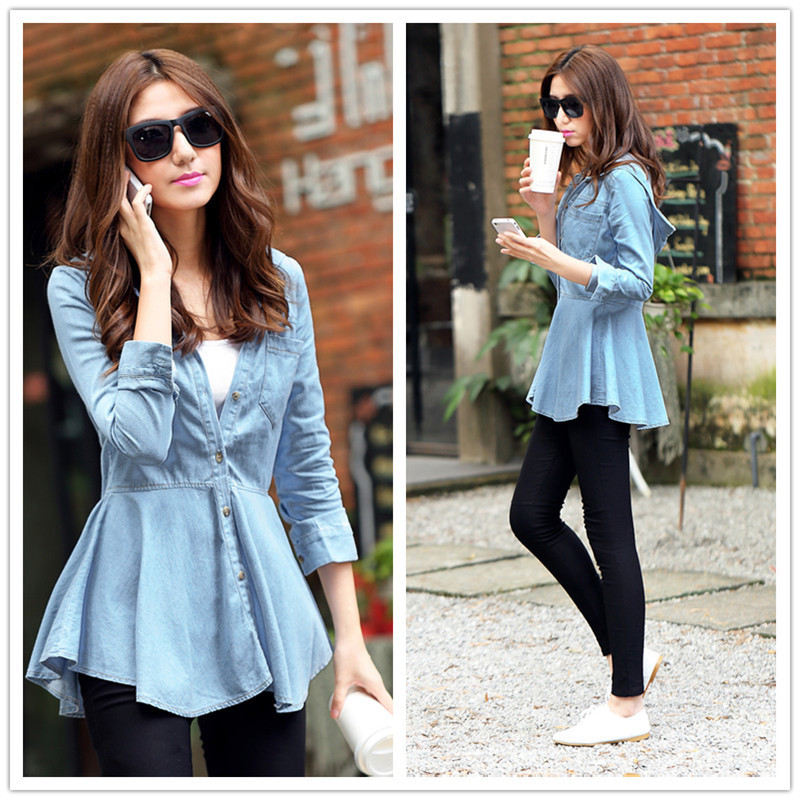 2a0feede24 Women Long Sleeve Retro Vintage Washed Blue Slim Fit Denim Shirt Peplum  Blouse Hooded Tops S2270
