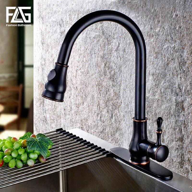 Robinet de cuisine à tirer FLG, robinet d'évier à tirer en bronze huilé, robinet de cuisine noir torneira cozinha robinet mitigeur de cuisine