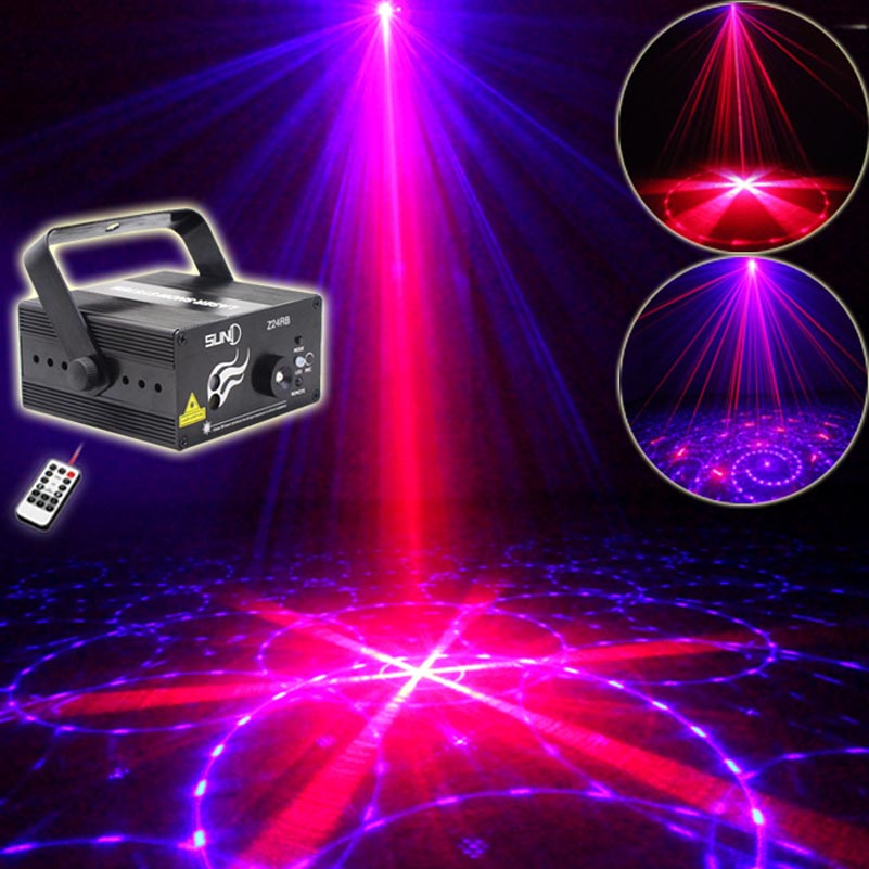 Sound Control LED Laser Projector Lighting 24 RB Patterns Remote Party Dance Lights For Dj Disco Wedding Events High Quality rg mini 3 lens 24 patterns led laser projector stage lighting effect 3w blue for dj disco party club laser