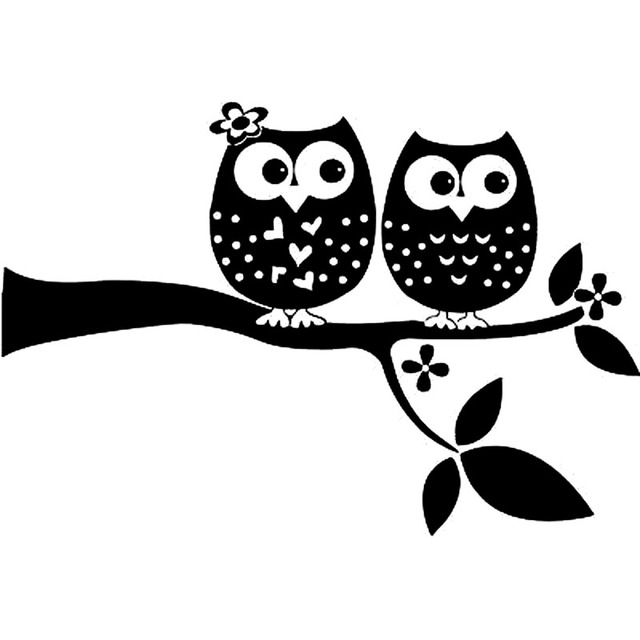 20x136cm Two Beautiful Owl In Tree Interesting Vinyl Black Silver