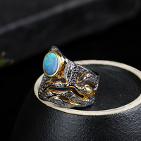 Retro Thai Silver Wholesale Natural Opal Italian Handmade Blue Opal Ring Oval S925 Sterling Silver Open Ended Adjustable Ring