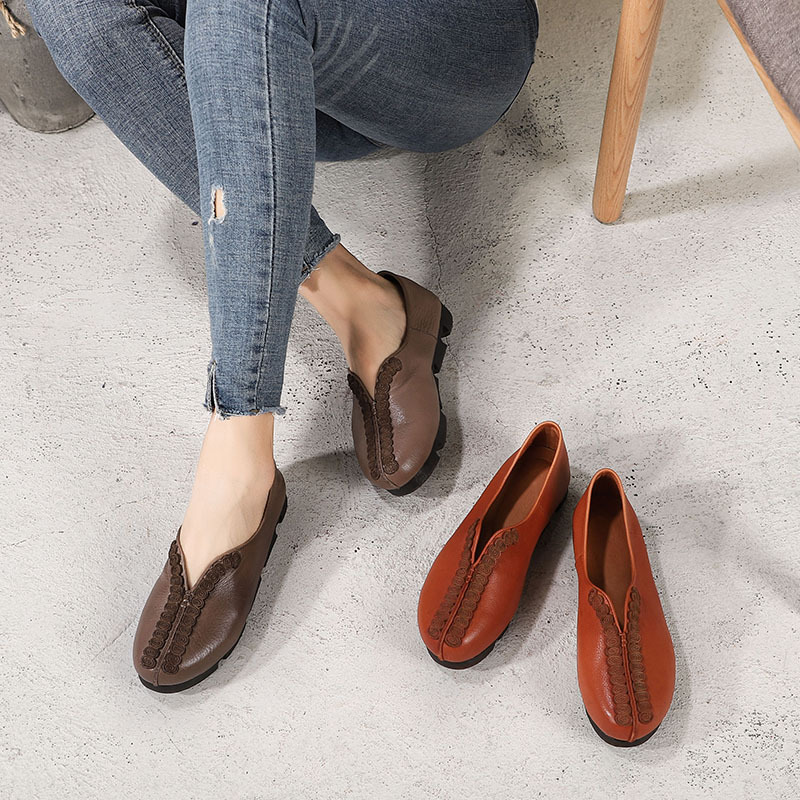 Rétro Printemps En Plat Artdiya La khaki Confortable Chaussures D'origine Femmes À 2019 D'été Nouveau Pour Mères Main Camel Simple Cuir Et Véritable 0gYgEq