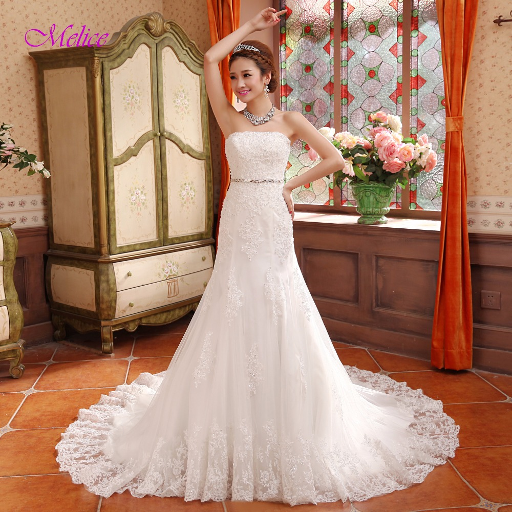 Melice Charming Strapless Appliques Beaded Mermaid Wedding