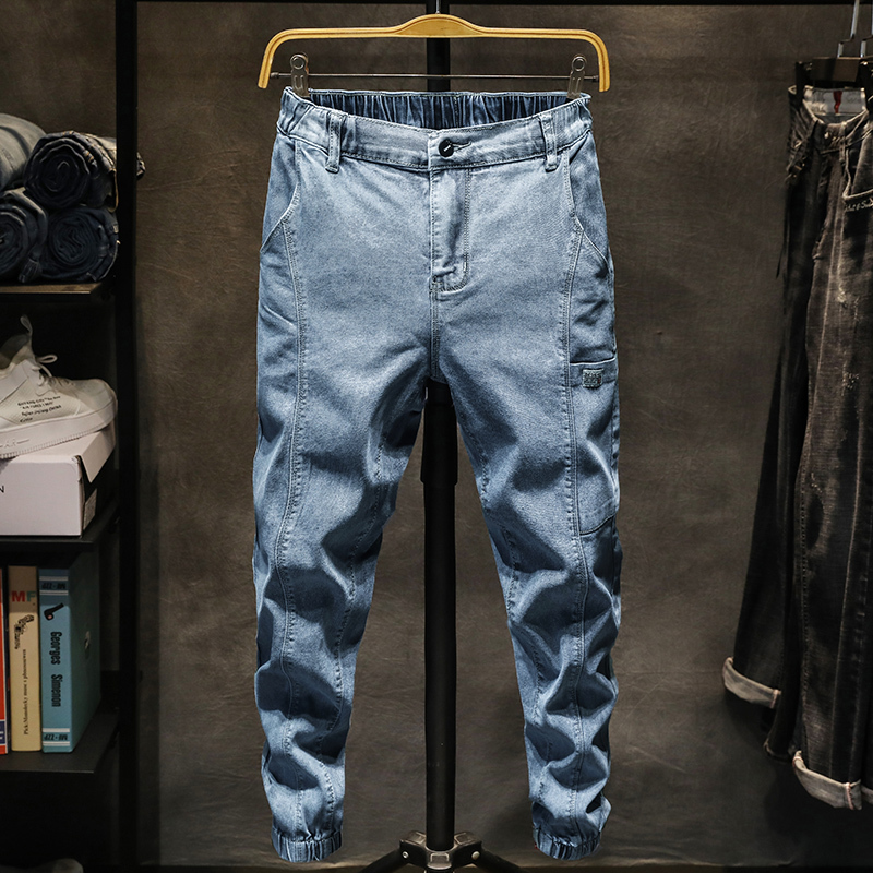 Spring New Jeans Men Slim Fashion Washed Retro Tooling Wind Multi-pocket Denim Pants Man Streetwear Hip-hop Male Clothes M-5XL(China)
