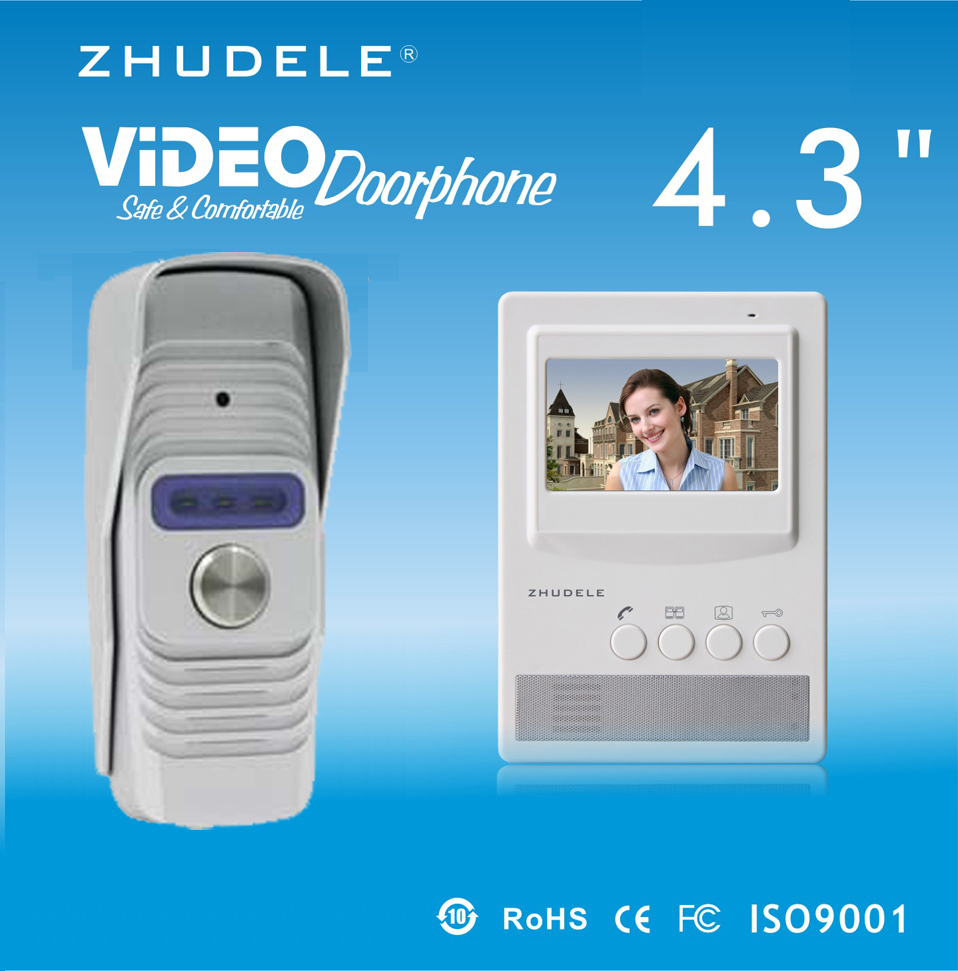ZHUDELE Home Security Intercom System Doorbell Smar4.3Video Door Phone,Peephole HD Camera,Night Vision w/t Waterproof Cover 1V1