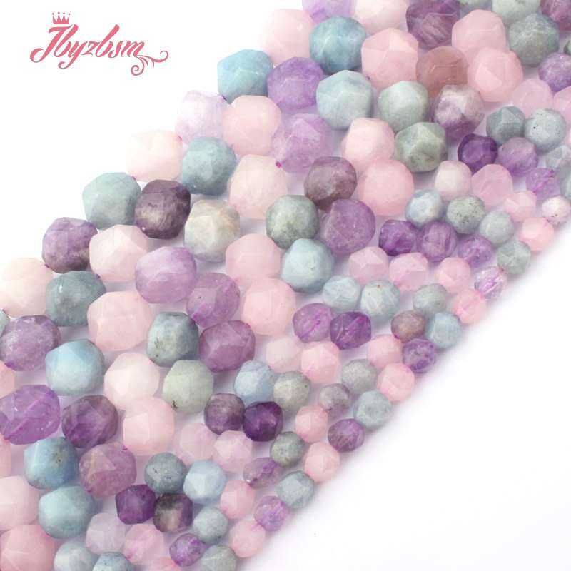 Faceted Lavender Aquamarines,Amethysts,Quartz Natural Stone Beads For Necklace DIY Jewelry Making 15 5-6,8,10mm Free Shipping ...