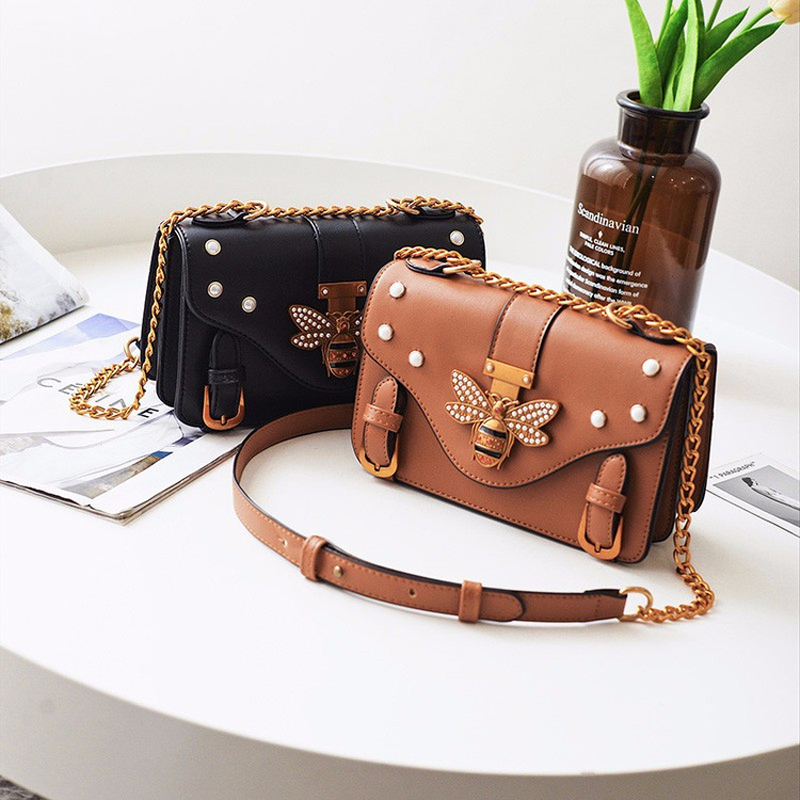 New Women/'s Faux Leather 3D Bee Clasp Crossbody Bag Messenger Shoulder Handbag