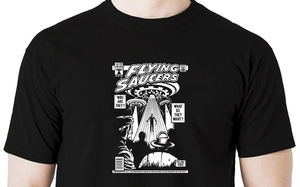 Tops Summer Cool Funny T-Shirt UFO T Shirt Alien Invader War of Worlds Flying Saucers Area 51 Comic Book Summer Style Tee Shirt(China)