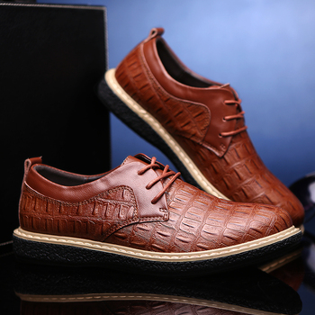 Fashion Snake-Print Embossed  Leather Men Flats Low Top Lace Up Round Toe Cowhide Business Casual Shoes Thick Anti-Slip Rubber