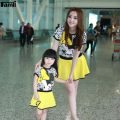 Family Sets Mother Daughter Outfits Summer Fashion Short Sleeve Minnie Character Printed T-shirt Skirt Clothing Sets