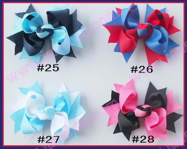 free shipping 100pcs 3 5 inches two tone boutique hair bows character hair bows
