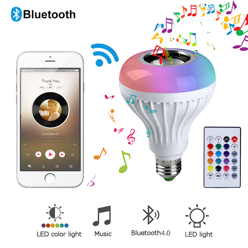 Smart E27 RGB Bluetooth Speaker LED Bulb Light 12W Music Playing Dimmable Wireless Led Lamp with 24 Keys Remote Control #35Smart E27 RGB Bluetooth Speaker LED Bulb Light 12W Music Playing Dimmable Wireless Led Lamp with 24 Keys Remote Control #35
