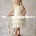 1 UNIDS En Venta! Envío Libre de LUJO Del Bebé Cordón de Marfil Vestido-Girls Marfil Niña de las Flores Vestido de Fotos, antiguo Vestido De Encaje Petti
