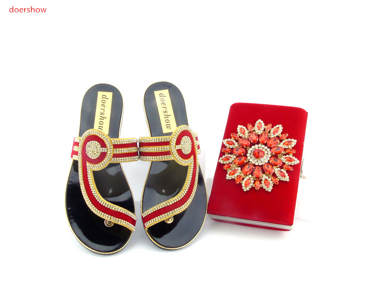 doershow Favorite Design Italian Shoes and Bag Set Matching Fashion Dress Summer Shoes And Bags red Color!    HJN1-8 doershow african shoes and bags fashion italian matching shoes and bag set nigerian high heels for wedding dress puw1 19