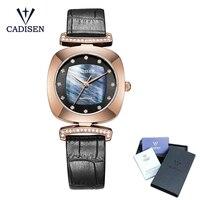 Mejor Reloj de marca de lujo de moda Cadisen 2018 reloj de cuarzo de cuero para mujer reloj de acero inoxidable Hour montre femme reloj femenino