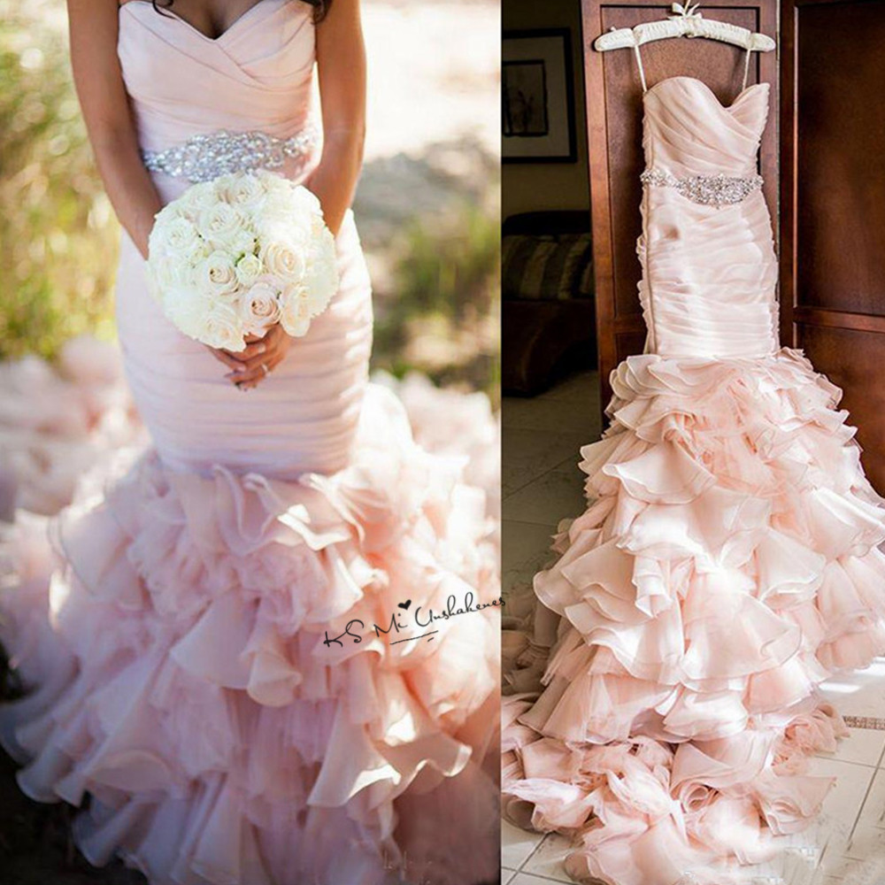 Aliexpress Buy Rustic Pink Wedding Dress Mermaid Vestido De Noiva Sereia Crystals Belt Bride Dresses 2018 Ruffles Gowns Trouwjurk From