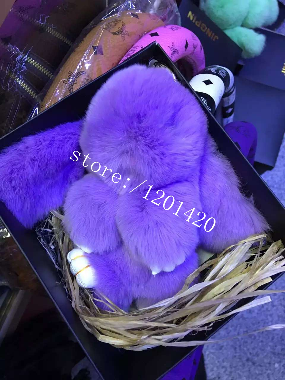 Luxury Bunny fur charm 100% Real Genuine Rex Rabbit Fur Keychains Pendant Bag Charm Bunny  Doll Handbag Backpack Keyring charm