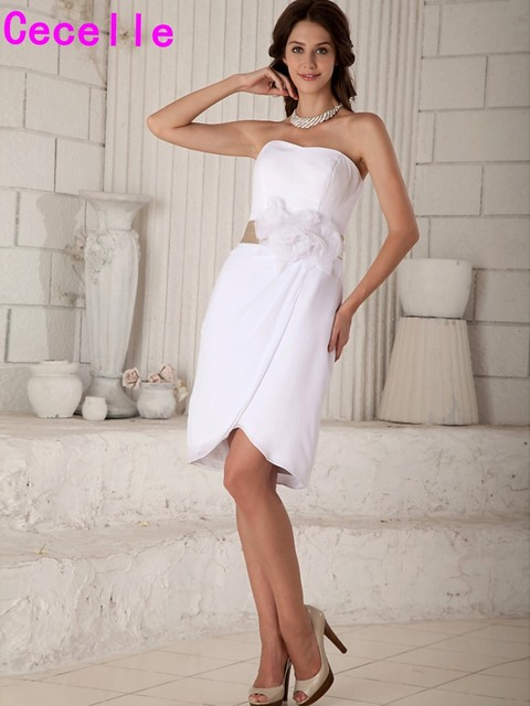 Short Sheath Chiffon Beach Reception Wedding Dresses With Champagne Belt Brides Little White Informal