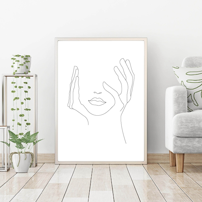 Hands On Face Wall Art Print Living Room Decor