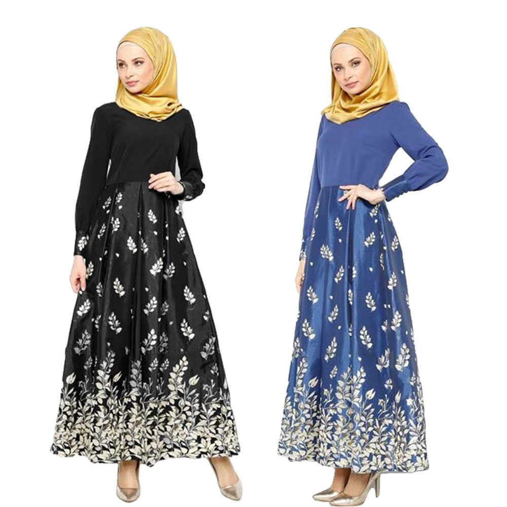 Muslim Women Abaya Dresses Print Long Sleeve Kaftan Jilbab Party Gown Arab Robes