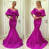 Beautiful Mermaid Prom Dresses Zipper Back Luxury Satin Formal Dress Evening Wear Abendkleider Robe de soiree Cheap Custom Made