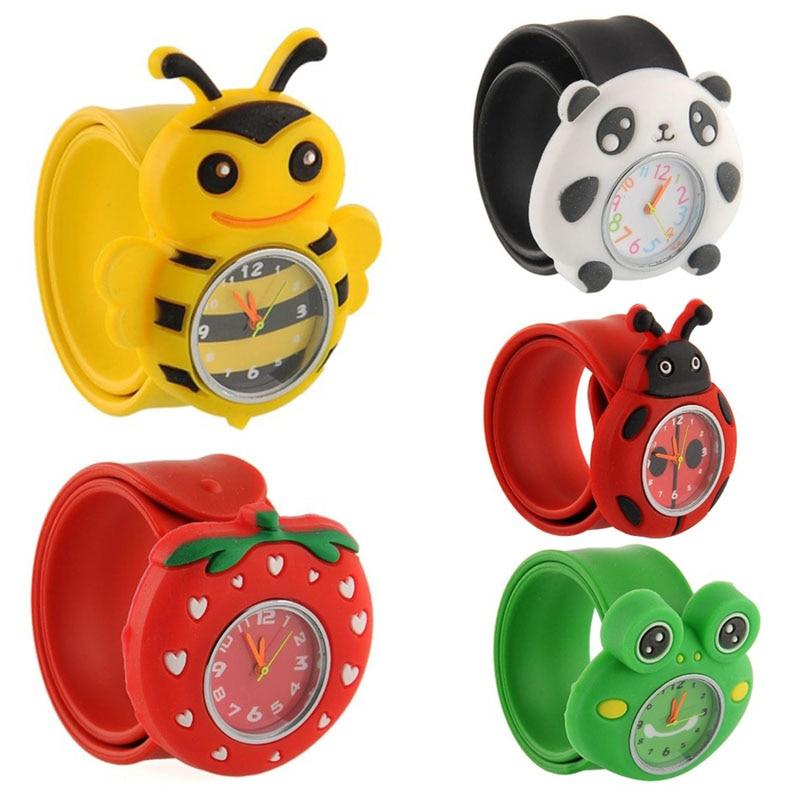 Fashion Kids Watch Cartoon Watch Children Student Silicone Waterproof Quartz WristWatch Slap Cute Gift Candy-colored Watches