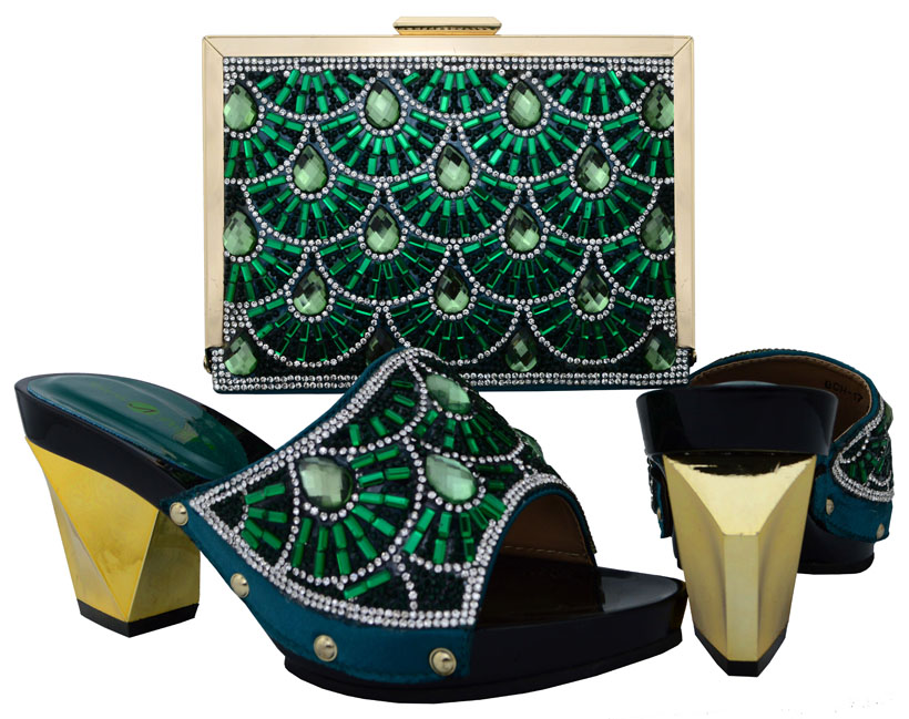 ФОТО Atrovirens Shoes Matching Bag Set For New Design,Italian Shoes Matching Bag Set With African Women Dress BCH-17 Size 38-42