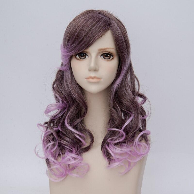 2019 Moda Lolita 50 Cm Lungo Grigio Viola Misti Ricci Donne Di Halloween Cosplay Parrucca + Protezione Della Parrucca