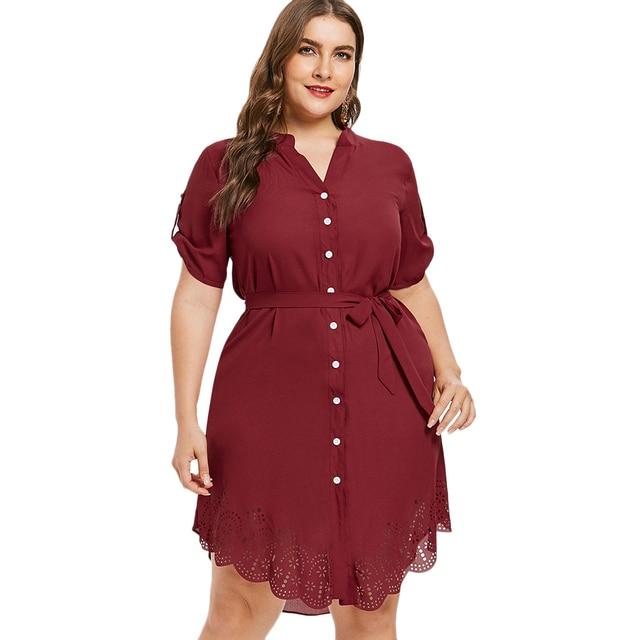 Wipalo Plus Size Elegant Autumn Eyelet Belted Dress Laser Cut Button Up  Asymmetrical Shirt Dress Roll Up Sleeve Dress 5XL free shipping worldwide 1c54c3d72ae3