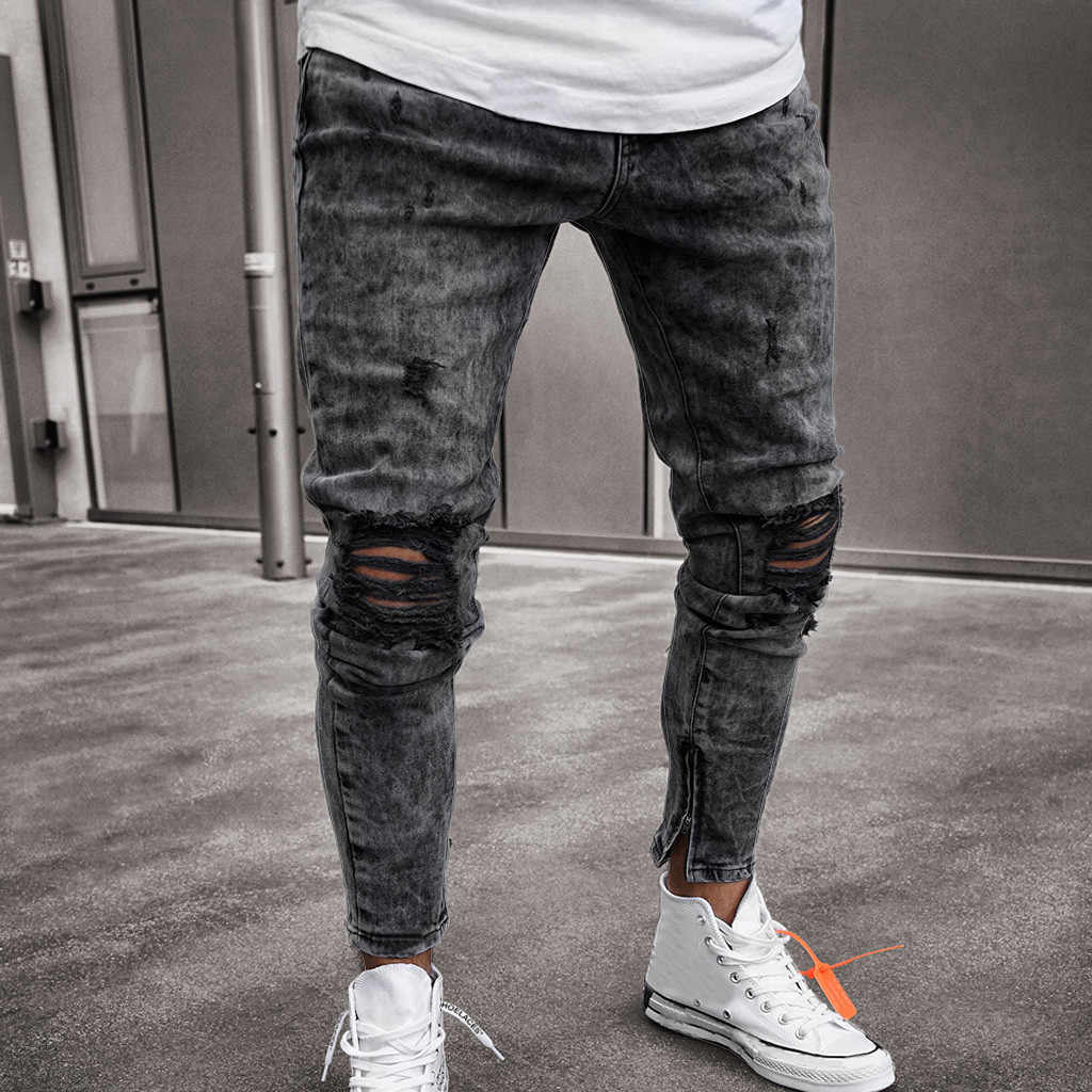da57558232 feitong Cotton Jeans Men Spring 2019 MenClothes Denim Pants Distressed Freyed  Slim Fit Casual Trousers Stretch