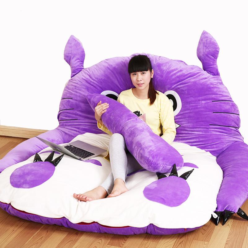 Populair Merk Paars Prinses Totoro Lui Matras Enkele Cartoon Comfortabele Matten Mooie Creatieve Slaapkamer Slaapbank Stoel Verwijderbare Cover Tekorten