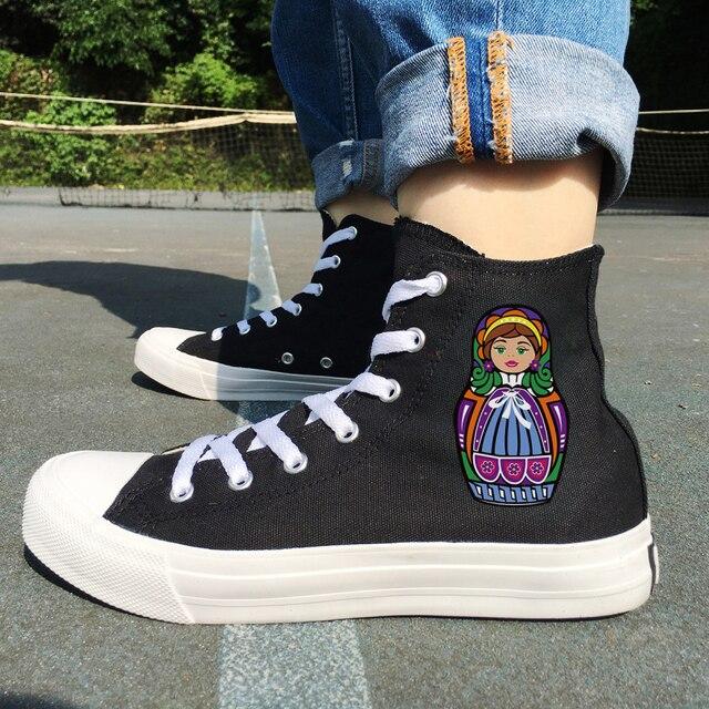 4eee9f6f9 Вэнь оригинальный дизайн России красочные Матрешка с высоким берцем для  женщин обувь для девочек холст спортивная