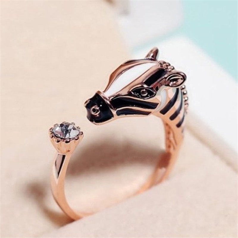 Hot Personality Punk Rock Zebra Horse Head Adjustable Opening Finger Ring For Women Men Jewelry Gift