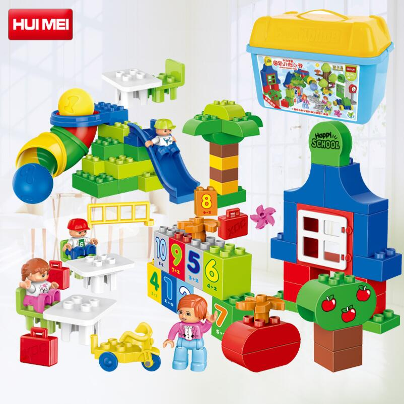 HM135 Happy kindergarten 106pcs BIG Building blocks Compatible With legeod DUPLOes Kids Brick Enlighten & Education Toys