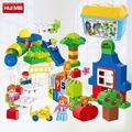 Hm135 feliz kindergarten 106 unids grandes bloques de construcción compatibles con leping duploes niños enlighten ladrillo y educación juguetes