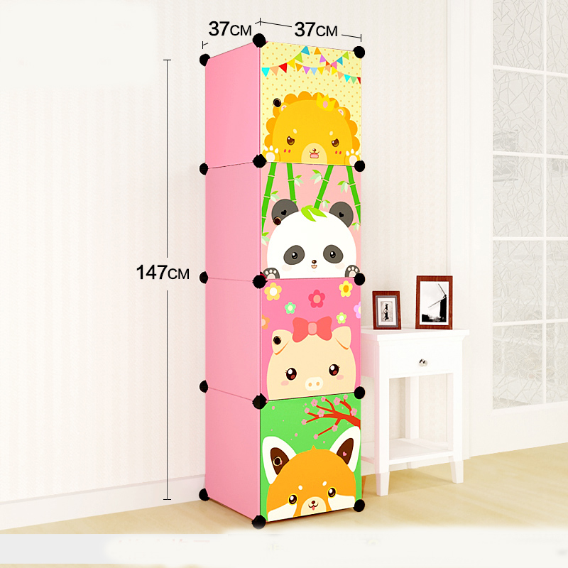 DIY extra large eco-friendly Ycartoon type child hanging clothes wardrobe Wire combined simple cabinet wardrobe storage box