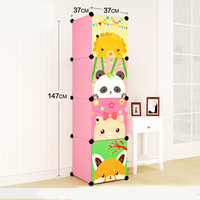 DIY extra large eco friendly Ycartoon type child hanging clothes wardrobe Wire combined simple cabinet wardrobe storage box