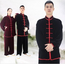 Winter cashmere velvet Kungfu Clothing Kung Fu Uniform Martial Arts Tai Chi Suits Stage Performance Costume warm Clothes