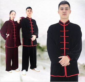 Winter cashmere velvet Kungfu Clothing Kung Fu Uniform Martial Arts Tai Chi Suits Stage Performance Costume Kung Fu warm Clothes