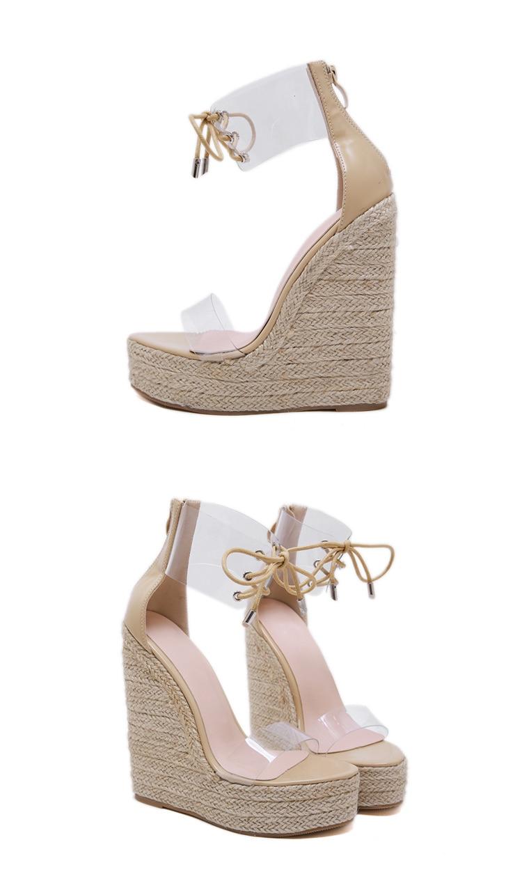 HTB1oOjTcA5E3KVjSZFCq6zuzXXa3 Aneikeh Fashion PVC Sandal Women Transparent Sandals Lace-Up Wedges High Heels Black Gold Party Daily Pumps Shoes Size 35-40