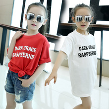 Spring and Summer New Girls Long Short Sleeved T-shirt Chest Letters Printing White Red Kids Clothing