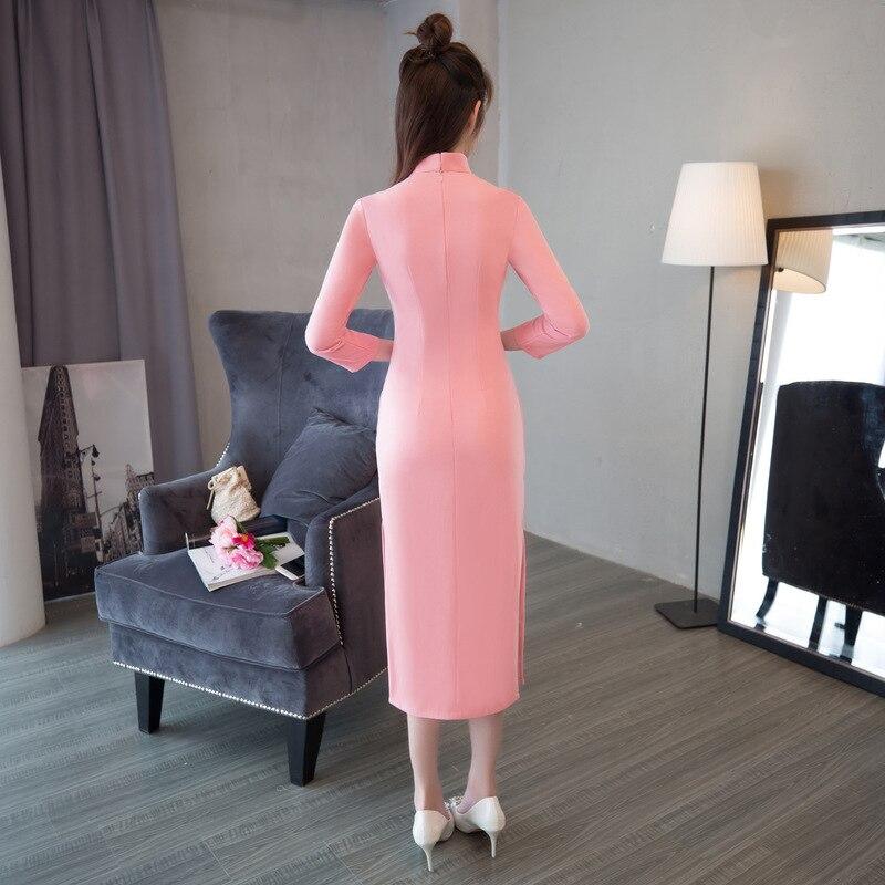 1 Solide 2018 Sexy Coton S 2 En Arrivée 70001 Nouvelle Mince Robe Nouveau Col Mandarin Chinoise Dame Courtes Vintage Cheongsam xxl Femmes Qipao xX1aIq8